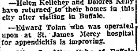 20 December 1923 The Evening Tribune (Hornell New York)  20 December 1923 - the --Helen Kelleher and Dolores have...