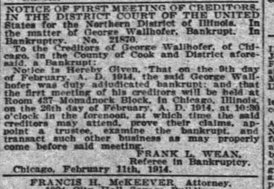 george wallhofer 13 Feb 1914 -