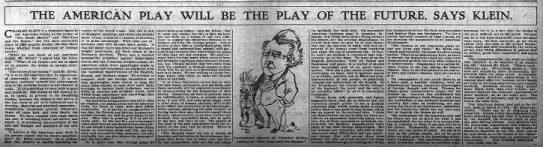 The American Play Will Be the Play of the Future Says  Charles Klein The Inter Ocean 21 July 1907 -