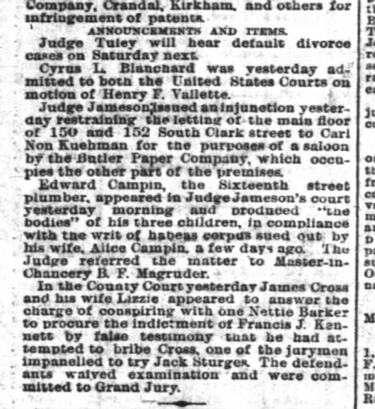 The Inter Ocean (Chicago, IL)  1-March-1883, page 10 -