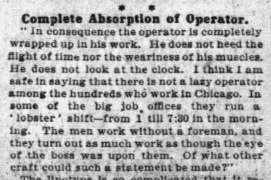 Lobster Shift (1906). -