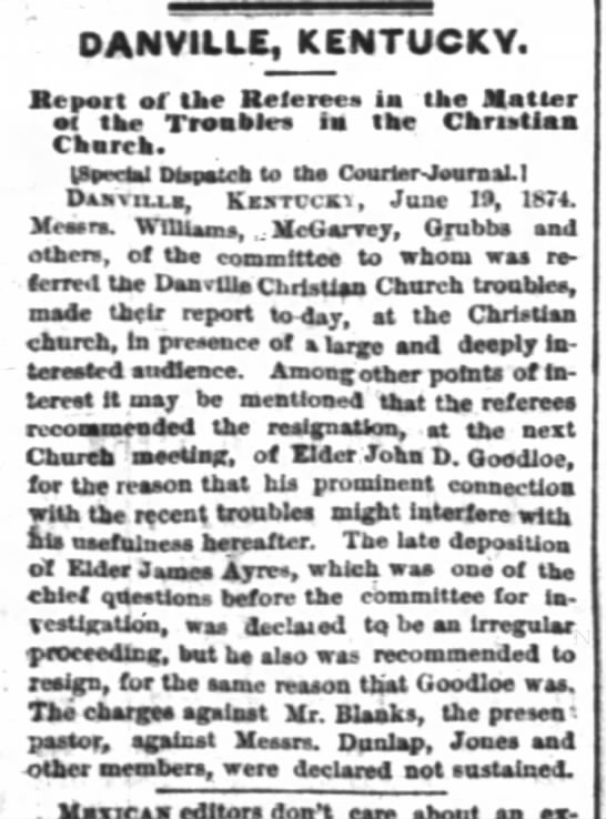 Christian Church troubles 1874 -