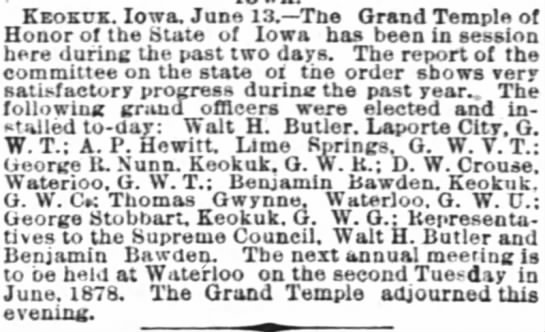 Report on Mason Meetings