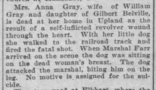 Anna Belville Gray Suicide -
