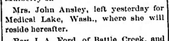 Mrs John Ansley move to Washington 1890 -