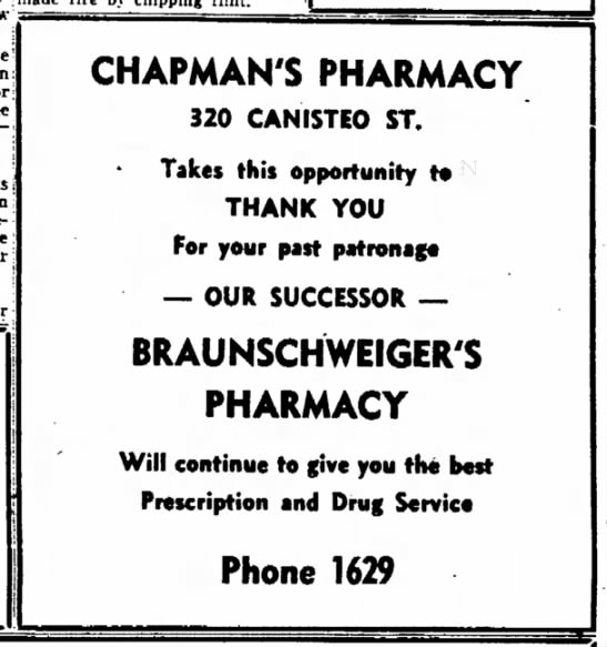 Chapman's Pharmacy becomes Braunschweiger's - for the Elks in evening our late M. CHAPMAN'S...