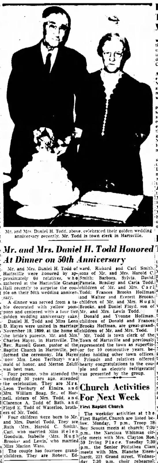 50th Anniversity Daniel H Todd and Lena Hayes Todd  26 Nov 1949 -