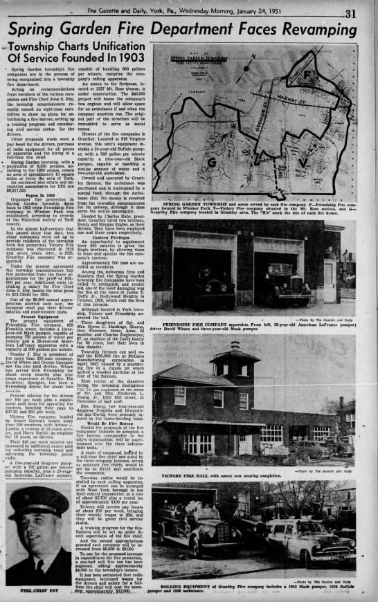Spring Garden Fire Department - The Gazette and Daily, York, Pa., Wednesday...