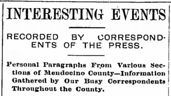 Example of a social news column title, 1901 -