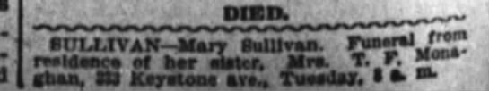 Mary Sullivan Funeral announcement in Indianapolis News -