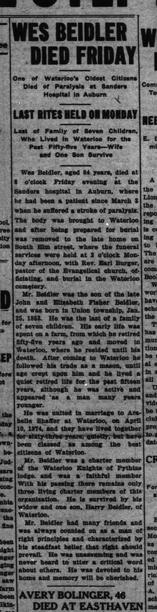 BEIDLER, Hiram Wesley - obit. - 3 I Du8 dehcied .c-D mm One of Died Waterloo's...