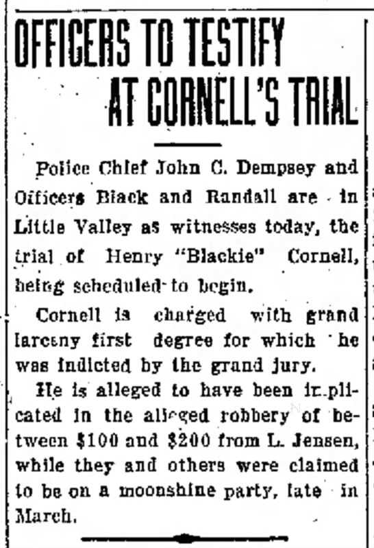 Officers to Testify at Cornell's Trial - Times Herald (Olean, New York) - 12 May 1922 -