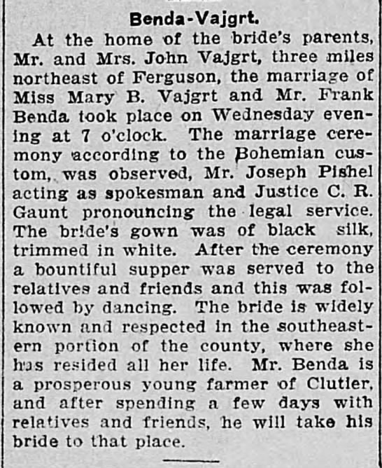 Mary B. Vajgrt and Frank Benda married Oct 3rd 1906 -