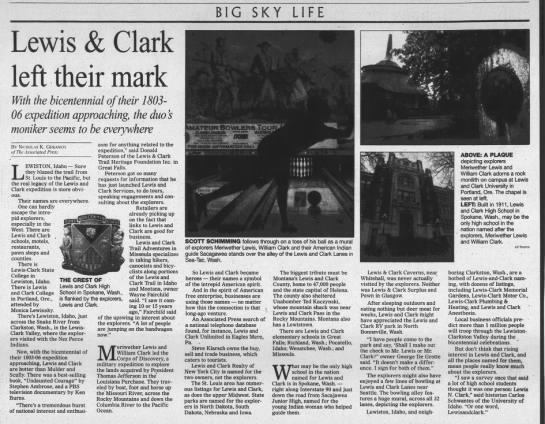 Lewis & Clark Left Mark on Montana - BIG SKY LIFE Lewis & Clark left their mark With...