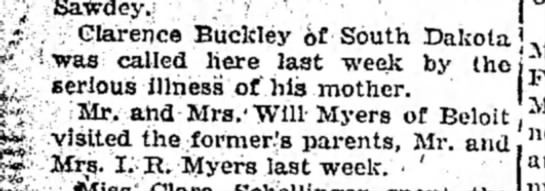 Susan Buckley gets visit from son...William Myers visits his parents 1923 -