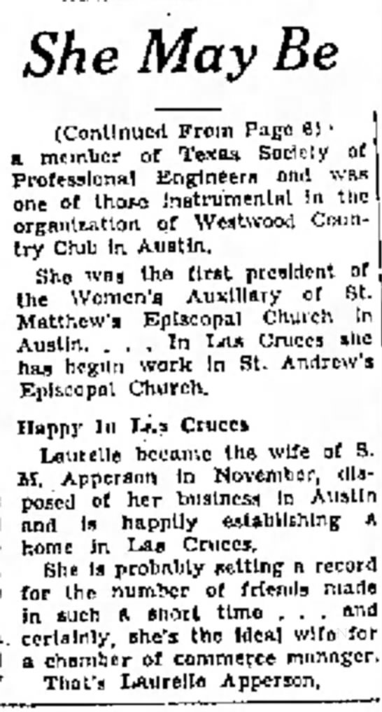 Continued from Las Cruces Article 1962 -