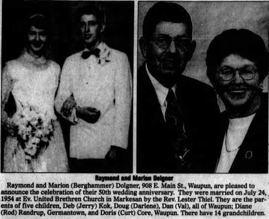 2004 7 24 Ray And Marion Dolgner 50th Anniv Newspapers Com