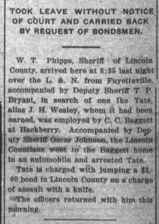 Tate, Ike -Thurs 02 May 1918 - The Leaf-Chronicle (Clarksville, Tennessee) -