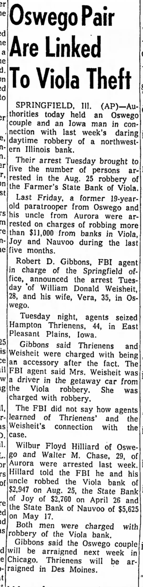 Joy and Viola bank robbery April 1958 -