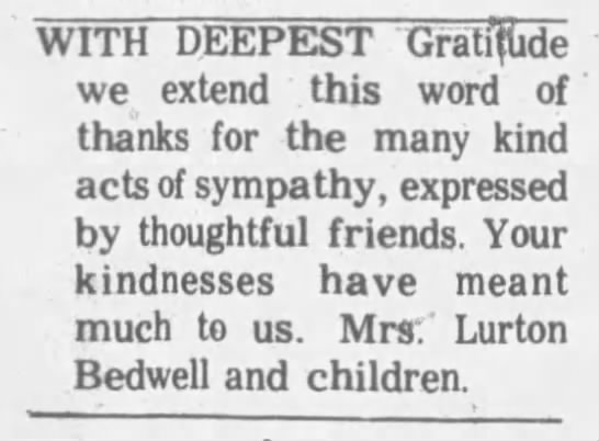 Lurton Bedwell sympathy thank you -