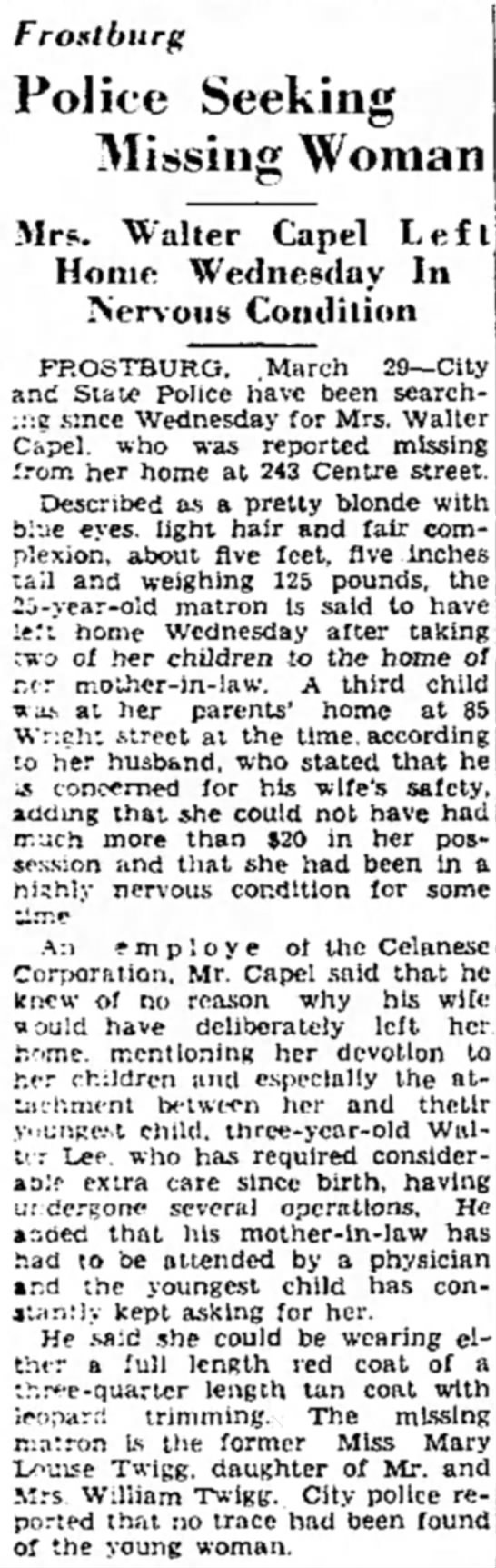 Capel, Mary Louise  & Walter March 29, 1947  -