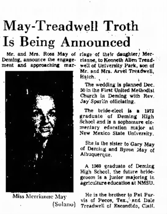 M/M Ross May daughter's engagement Nov, 1972, Las Cruces Sun -News -