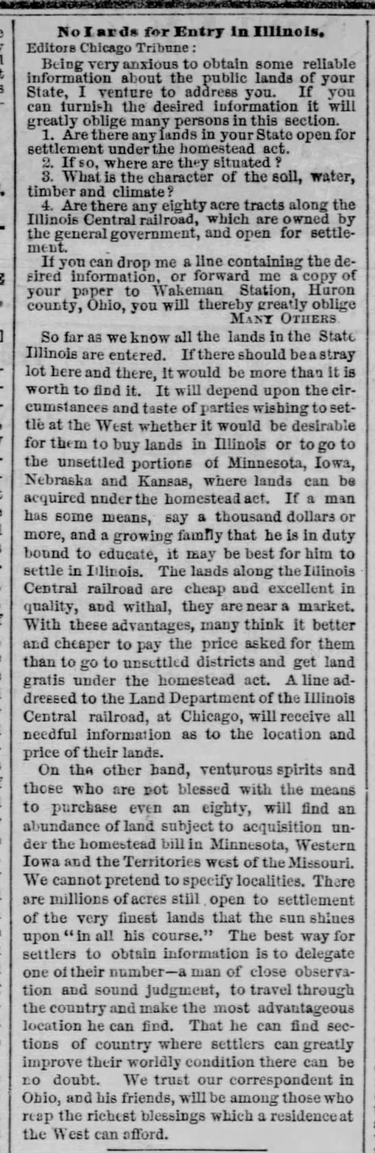 Newspaper says that there is no land available for settlement under the Homestead Act in Illinois -
