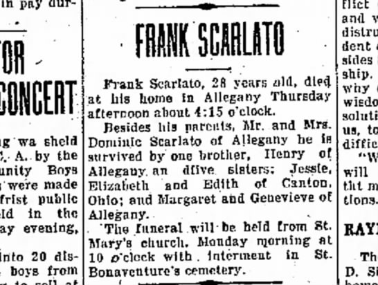 Frank Scarlato Obit 18 May 1923 -