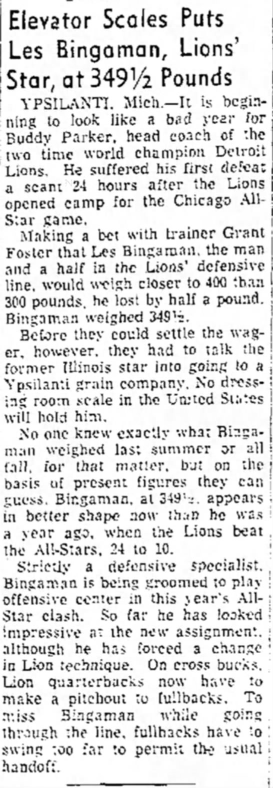 Elevator Scales Put Les Bingaman, Lions' Star, at 349-1/2 Pounds -