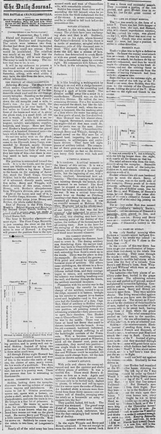Excerpt from a re-printed Boston newspaper article with a Northern perspective on Chancellorsville -