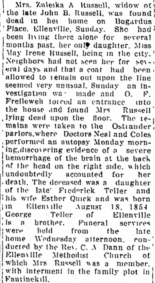 Zuleika Ann Russell, Kingston Daily Freeman, Kingston, New York 24 Nov 1922 -