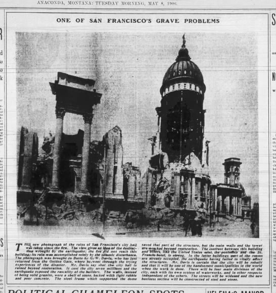 Destroyed San Francisco city hall, 1906 -