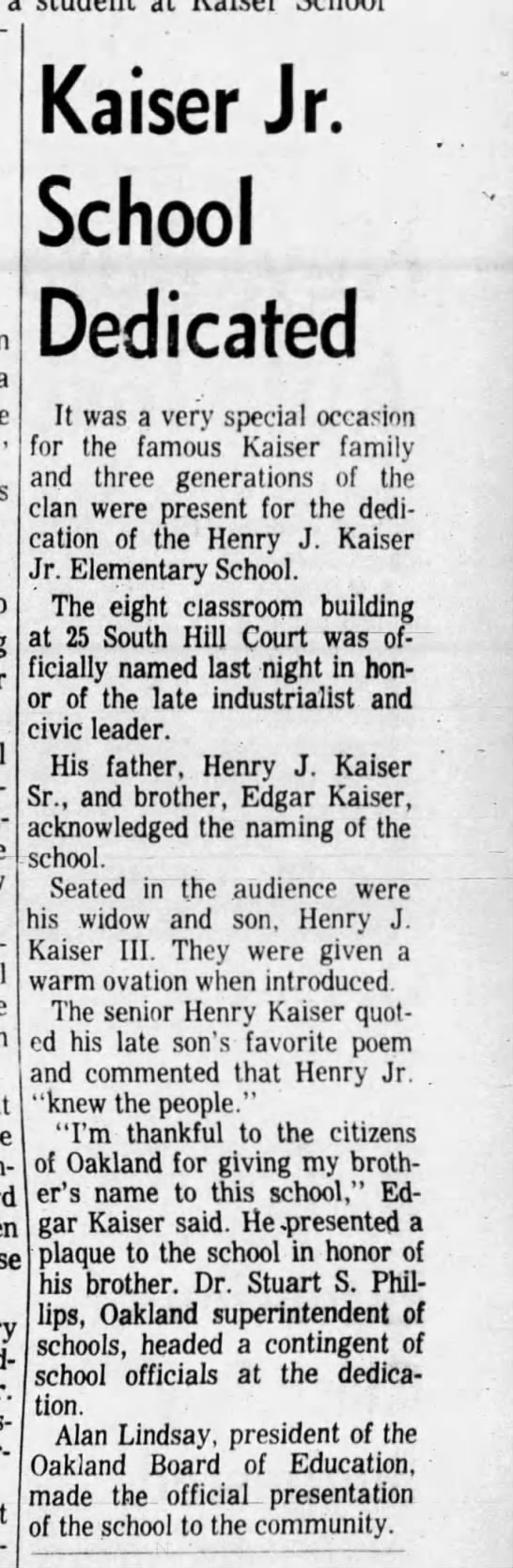 Kaiser Dedicated - Feb 05, 1964 -