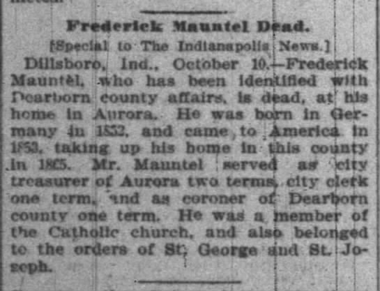 Frederick Mauntel Obit -