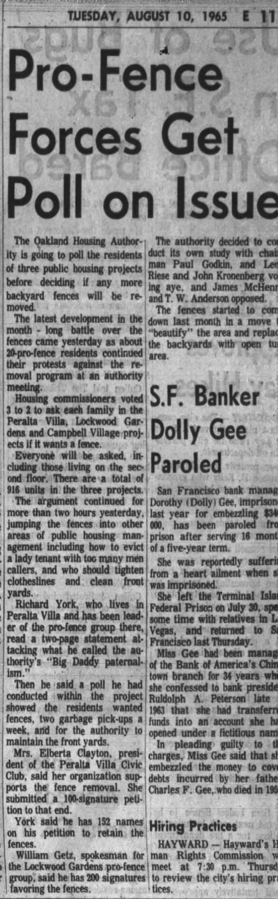 Pro-Fence Forces Get Poll on the Issue - Oakland Tribune Aug 10, 1965 -