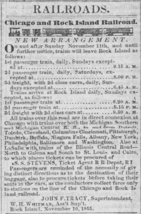 Rock Island Train Schedule -