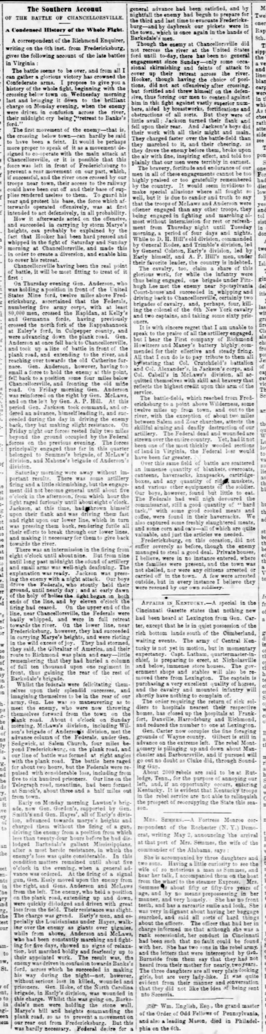 Confederate perspective on the Battle of Chancellorsville written May 6, 1863 -