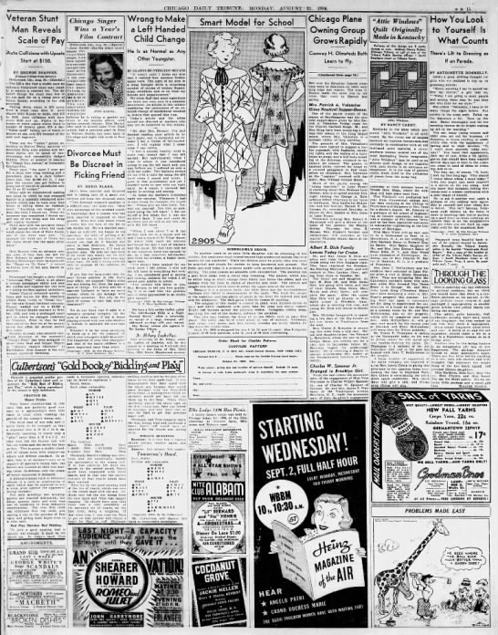 Chicago Daily Tribune Monday August 31 1936 -