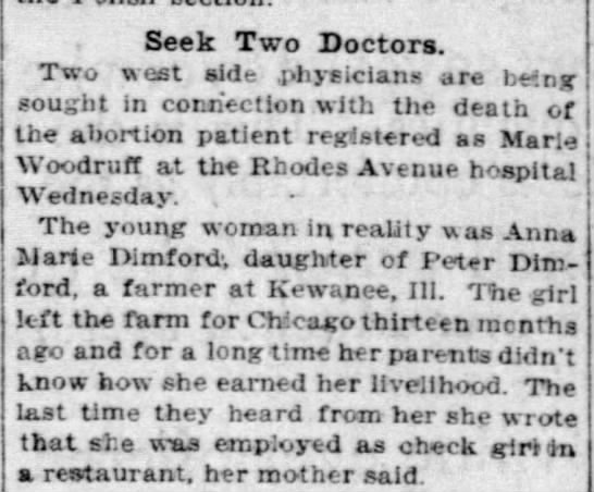 Marie Dimford Murder] Seek Two Doctors - Chicago Tribune - 3