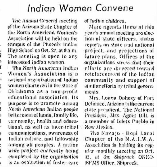 Indian Women Convene. The Gallup Independent (Gallup, New Mexico) October 15, 1973, p 3 -