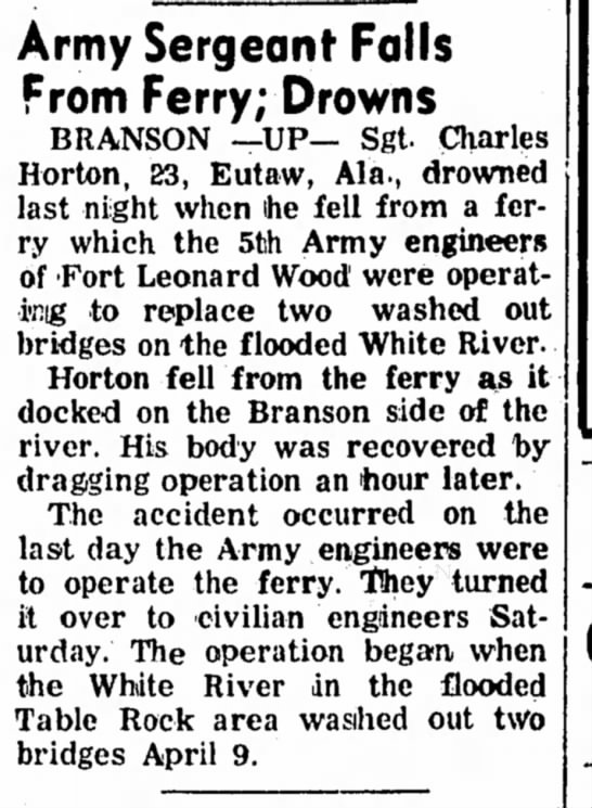 1957 June 2 Amry Sergeant Drowns off Ferry Branson -