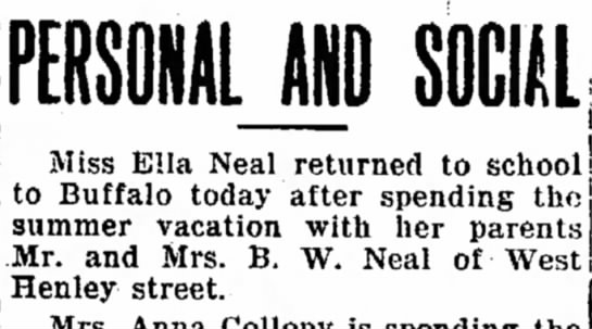 Ella Neal (single) parents are Mr & Mrs. B. W. Neal of West Henley Stret -
