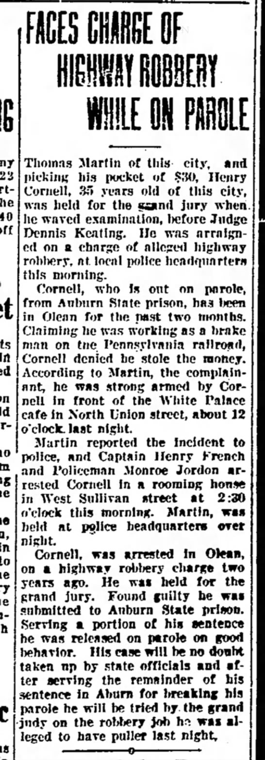 Faces Charge of Highway Robbery While on Parole - Times Herald (Olean, NY) - 29 March 1924 -