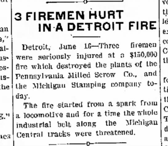 1909 fire injures firemen -