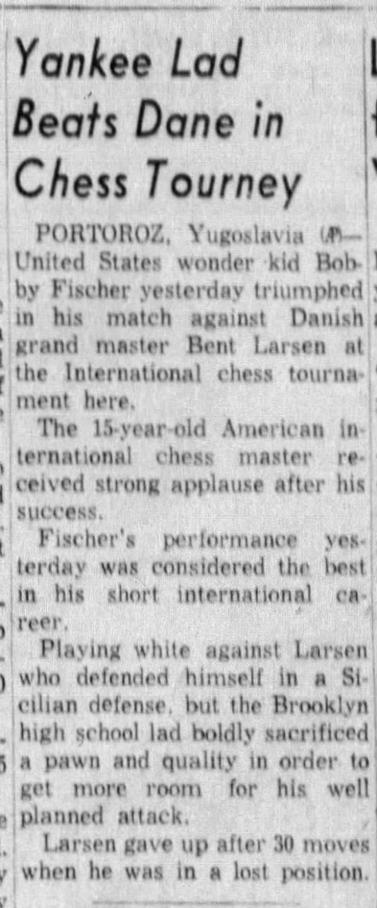 Yankee Lad Beats Dane in Chess Tourney -