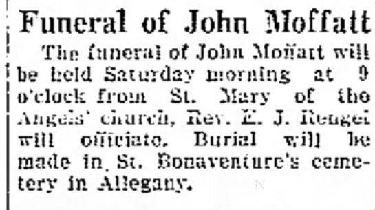 John William Moffatt funeral announcement -