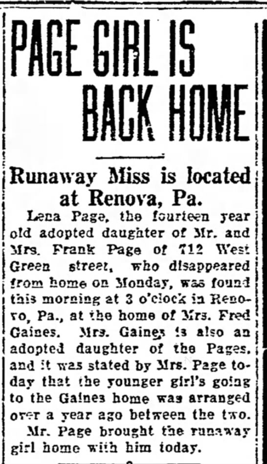 Lena Page found and returned home -
