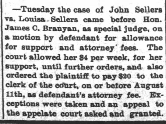 John & Louisa Sellers Divorce - ' Tuesday the case of John Sellers vs. Louisa....