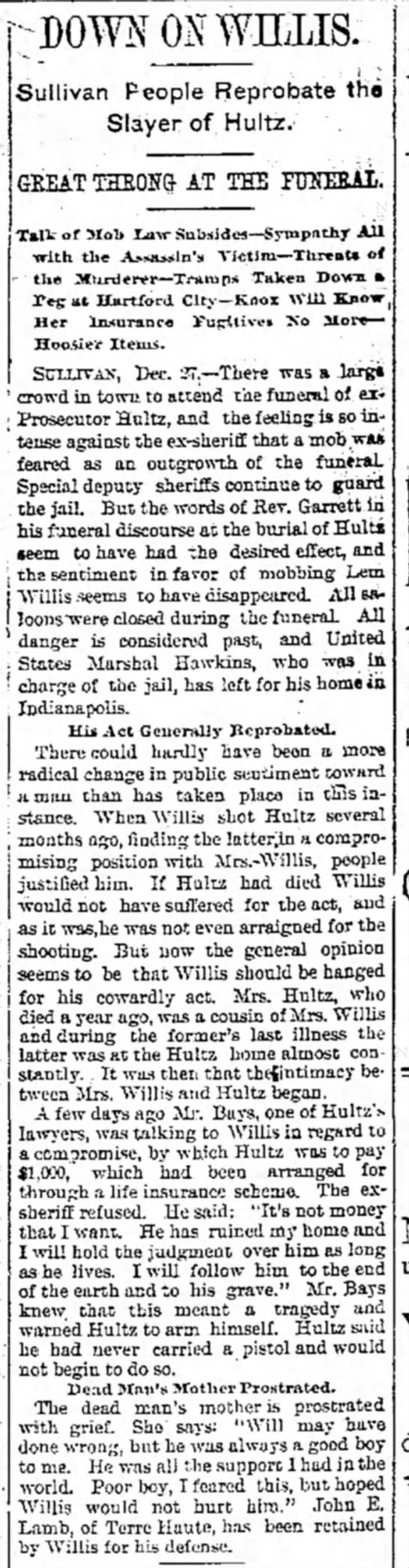 27 Dec 1893 Prosecutor Hultz - y WILLIS:. Sullivan People Reprobate tho Slayer...