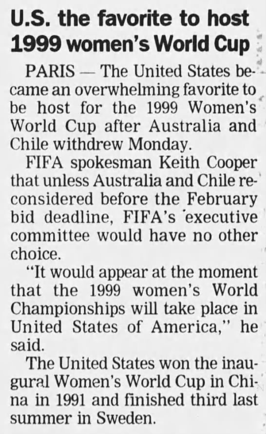 United States the favorite to host 1999 FIFA Women's World Cup -